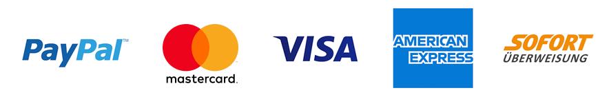 Paypal, Sofortüberweisung, Amex, Mastercard, Visa